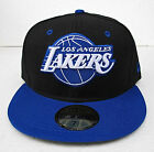 LA Lakers Black On Blue Fitted Cap Hat All Sizes NBA New Era