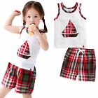 """Vaenait Baby Kid Check Girls Boys Clothes Sleeveles Outfit set """"Boat Red"""" 12M-7T"""