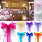10/25/50/100pcs Organza Sashes Chair Cover Wedding For Party Bows 15cm * 275cm