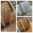 30 / 50mm Rose Gold Silver Mesh Ribbon Net Web Webbing Christmas Wedding Glitter