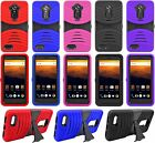 For ZTE MAX XL / N9560 Heavy Duty Hard Hybrid Armor Tough Kickstand Case Cover