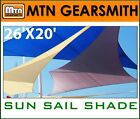 NEW MTN RECTANGLE SQUARE SUN SAIL SHADE CANOPY TOP COVER 26'x20'-CHOOSE
