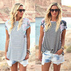 Womens Casual Clothes Printed Sleeve Striped Tops Shirt Loose T-shirt Blouse Tee