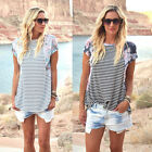 Fashion Women Print Striped Floral T-Shirt Short Sleeve Casual Blouse Tops