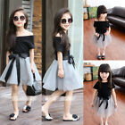 US 2pcs Toddler Kids Baby Girl Tops+Skirt Tulle Dress Party Wedding Outfit Dress