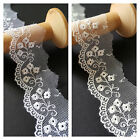 35mm Flat Embroidered Tulle Scalloped Lace Trim Wedding Bridal, Baby Christening