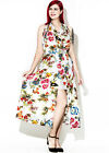 (202)PLUS SIZE FLORAL LONG MIX BEACH EVENING PROM PEACOCK DRESS SIZE:M-4XL