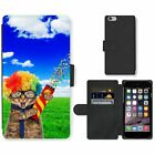 Phone Card Slot PU Leather Wallet Case For Apple iPhone funny cat countryside