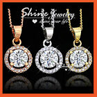 9k 9ct Gold Gf Clear Crystal Solid Lady Wedding Halo Round Pendant Necklace Gift