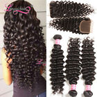 """USPS Thick Malaysian Deep Wave Curly 3Bundles Hair Wefts With 4*4"""" Lace Closure"""