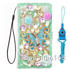 3D Luxury Leather Flip Bling Diamond Wallet Case Girls' Phone Cover with strap W