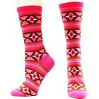 Ariat Women's Pink and Brown Aztec Pattern Crew Socks A10012159