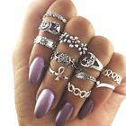 11Pcs/set Women Vintage Silver/Gold Sun Moon Star Flower Midi Above Knuckle Ring