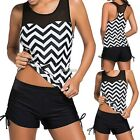 Women Sexy Tankini Mesh Padded Wire Free Two Pieces Beach Swimsuit K0E101