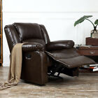 Recliner Chairs For Living Room Dark Brown Black Leather Upholstered Furniture