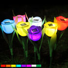 Outdoor Solar Powered Tulip Flower LED Light Yard Garden Path Way Lamp