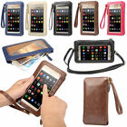 Touch Screen Universal Mobile Phone Wallet Bag Leather Case Cover Shoulder Bag