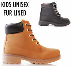 NEW KIDS GIRLS GRIP SOLE FUR WINTER WARM LACE UP ANKLE BOOTS TRAINERS SHOES SIZE