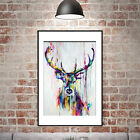 Watercolor Deer Head Inkjet Canvas PosterPrint Abstract Animal Picture Frameless