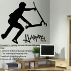 LARGE PERSONALISED STUNT SCOOTER WALL STICKER IN CUT MATT VINYL DECAL