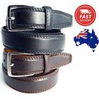 "30mm 1.2"" Wide Genuine Leather Men's Dress Wedding Suit Belt RRP $49.95"