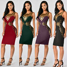 Womens Bodycon Pencil Cocktail Evening Ladies Summer Party Long Dress Plus Size