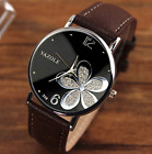 Ladies Wrist Watch Yaz Luxury Flower Pattern Genuine Leather Strap Quartz Watch