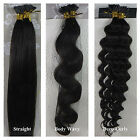 18-32inch Stick I Tip Human Hair Extensions Straight Wavy Curly #2 Darkest Brown