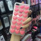 3D Pink Red Bling Heart clear TPU protective case cover for iPhone 6 6S 7 Plus