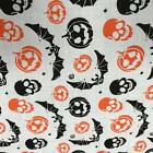 Pumpkins & Bats White with Orange & Black Poly Cotton fabric material 115cm RO