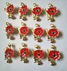 Enamel Red Crystal Poppy Brooches Pins Jewelry Remembrance Day Gifts For Soldier