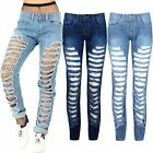 Ladies Womens Ripped Damaged Cut Out Distressed Destroyed Skinny Fit Denim Jeans