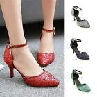 Womens Stiletto Pointed Toe Ankle Strap Shoes High Heels Party Club Prom Sandals
