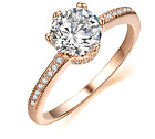 2 CT Carat Promise Engagement RING Round Cut Rose Gold Plated Jewelry Grace