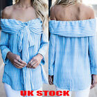 UK Womens Striped Bowknot Strapless Tops Ladies Summer Casual Loose Shirt Blouse