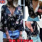 UK Womens V Neck Floral Tops Ladies Long Sleeve Loose Blouse Shirts Size 6 - 18