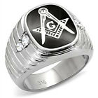 Dáquilla Men's Stainless Steel 316L Masonic, Mason, Clear Crystal H P Lodge Ring