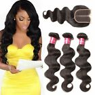 """8-30"""" 8A Raw Brazilian Body Wave Virgin Human Hair Weft With 10-20"""" Lace Closure"""