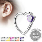 Gem Heart Bendable Ear Cartilage Tragus Helix Daith Ring Silver Gold Rose 16g R2