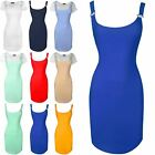 Ladies Womens Pinafore Curved Hem Ribbed Braces Bodycon Tunic Dress Plus Size