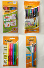 BIC 4 In 1 Multi Pens Highlighter Marking Cristal Colour Pencils Stationery New