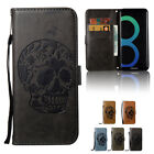For Samsung Galaxy S7 / S7 Edge Luxury Skull Leather Wallet Phone Case Kickstand