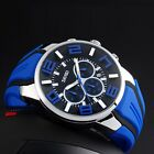 Men Sport Date Chronograph Waterproof Fashion Quartz Rubber Silicone Wrist Watch