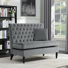 NEW Modern Tufted Settee Bedroom Bench Sofa High Back Cushion Seat Fabric Velvet