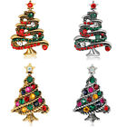 Vintage 4Colors Christmas Tree Gifts Charms Crystal Brooches Pins Brooch Bouquet