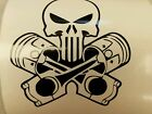 Skull with pistons Vinyl Decal/Sticker