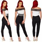 Womens Ladies New Bardot Stripe Off The Shoulder Bodycon Jumpsuit Party Playsuit