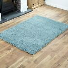 PREMIUM LARGE DUCK EGG BLUE SHAGGY HIGH QUALITY RUGS PLAIN PILE THICK CARPET NEW
