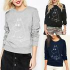 Women Casual O-Neck Long Sleeve Printed Pullover Sweatshirt with Fleece K0E1