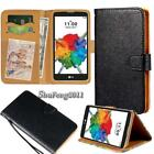 Black Flip Cover Stand Wallet Leather Case For Various LG SmartPhones +Strap